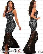 Womens Evening Dress Black Maxi Ball Gown Prom Party Celeb Floral Lace Size 8 10