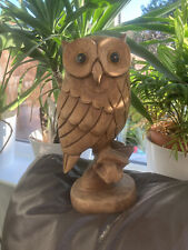 More details for unique vintage hand carved wood wooden owl ornament deterrent 12 inch foot tall
