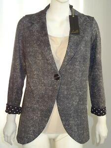 LIZALU' giacca blazer donna un bottone grigio nero  F580YAGNEVADA TG 46