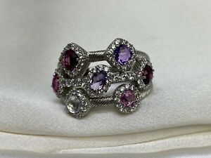 Judith Ripka Multi-Gemstone Sterling Silver Ring Size 10.75