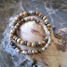 TWO Surf bracelets Tiger Eye  wood and coconut bracelet surf style wristbands