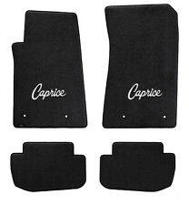NEW! Black Floor Mats 1965-1968 Caprice Embroidered Script Logo in Silver Set 4