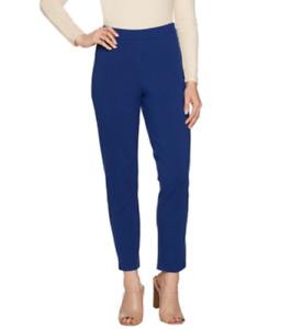 Joan Rivers Regular Signature Ankle Pants w/Front Seam Detail - Steel Blue/Large