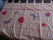 Rideau à œillets rose uni brodé fleurs, papillons taille H234 x L140 cm doublé