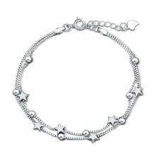 *UK* 925 Silver Plt Beaded Star Multi Chain Linked Bracelet Bead Charm Anklet