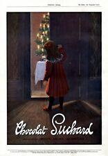 Suchard Weihnachten Bescherung XL Reklame 1912 Mädchen Milka Schokolade Neugier