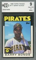 1986 Topps Traded #117 Barry Bonds Rookie Card BGS BCCG 9 Near Mint+