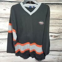 Nautica Mens Size Large Striped Long Sleeve Shirt V Neck Orange Vintage 90s