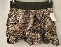 Feathers NWT Womens Black Brown Snakeskin LOOK Mini Skirt Size S