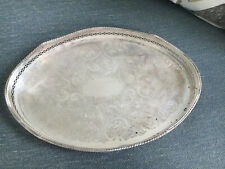 New listing Vintage Ornate Silverplate Over Copper Reed Barton Oval Vanity Dresser Tray 303