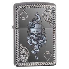 Zippo 29666, Armor, Deep Carved, Ace of Spades-Skull, Black Ice Chrome Lighter