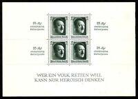 DR NAZI 3d Reich Rare WWII Stamp Hitler Fuhrer Block 9 Hitler Head Birthday #9