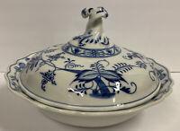 Vintage Meissen Blue Onion Pattern Porcelain Covered Vegetable Bowl Oval Mark