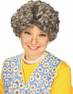 Yo Momma Gray Wig Curly Curls Grandma Grandpa Adult Costume Accessory Mrs. Claus