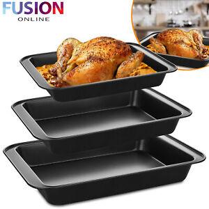 Large 3 Piece Roasting Baking Tray Set Non Stick Tin Cooking Oven Dish Bakeware