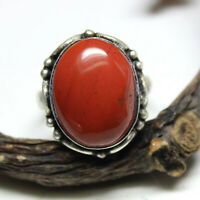 Red Coral Oval Cabochon Gemstone 925 Solid Silver Women Designer Ring