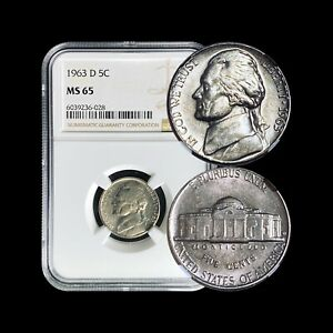1963 Jefferson Nickel - NGC MS66 (Gem+ UNC) - Only 36 Graded Higher!