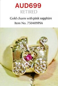 Pandora 14K Gold charm with pink Sapphires, 750409PSA, Rare To Find!