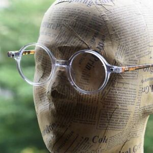 Retro round solid acetate crystal eyeglasses mens womens clear frame RX glasses