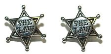 """THE LAW"" SILVER TONE STAR CUFF LINKS (107a)"