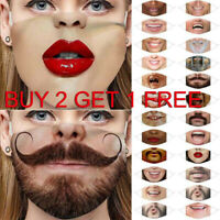 Unisex Adult Funny Novelty Printed Face Mask Masks Cosplay Party Face Covering
