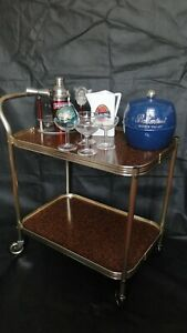 Vintage Retro 1970's  Gold Hostess Trolley with wood affect  2 tier Trays