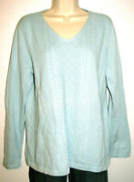 Talbots Women's Sky Blue Cotton Textured Front Long Sleeve Sweater Size Large