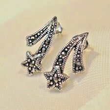 925  SOLID SILVER MARCASITE SHOOTING STARS STUD EARRINGS  *Pretty little Kiss*