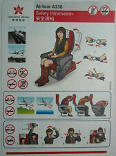 Airlines Safety Card - HONG KONG AIRLINES A330