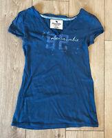 Abercrombie & Fitch Women's V Neck T Shirt Blue Short Sleeve XL Cotton