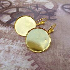 10pcs Gold tone Brass Leverback Earrings Cabochon Resin 18mm base setting