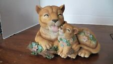 Lion Mother & Son Hand Painted Resin Figurine simulation model with music box