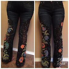 Sonic Violet Tokyo Design Blue Denim Mesh Sparkle  Jeans Stretch Women SZ 26 /28