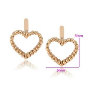 "9k 9ct  ""GOLD FILLED"" Girls Heart stud Earrings small, 6mm Gift"