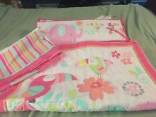 Crib bumper, comforter & skirt set, girls, pink, elephants, toucans and flowers