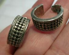 Vintage Hoop Earrings sterling silver studded marcasite pierced small boho retro