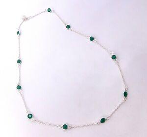 Wonderful Emerald Cut Stone Fine Necklace 925 Solid Sterling Silver 4.70 Gm M947