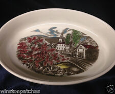 """JOHNSON BROTHERS PORTUGAL THE FRIENDLY VILLAGE OVAL BAKER 12"""" VILLAGE SCENES"""