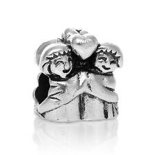 Couple Love Lovers Heart Bride Groom Wedding Bead for European Charm Bracelets