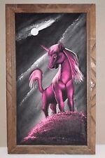 Vintage Pink Unicorn White Moon Velvet Painting Mexico Art Wooden Frame