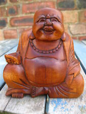 WOODEN HAPPY BUDDHA FIGURE Ornament 10 cm CHINESE LAUGHING Sitting HAND CARVED