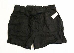 Old Navy Women's High-Waisted Tie-Belt Linen-Blend Shorts CD4 Black Size 10 NWT
