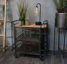 Industrial Storage Cabinet 2 Drawer Metal Bedside Cupboard Lamp Side Table Unit