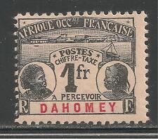 Dahomey #J8 (D1) FVF MINT - 1906 1fr Dahomey Natives / Postage Due