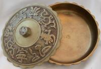 "HANDSOME VINTAGE COVERED BRASS BOWL WITH LID REPUBLIC OF KOREA W/LABEL 6"" WIDE"