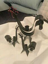 Vintage / Antique Metal Rooster / Chicken Set of 3 Taper Candle Holders - Art!