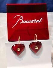 Baccarat A La Folie Crystal & Gold Heart Earrings Ruby  101073 Orecchini - NEW -