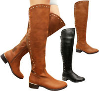 Ladies Women Faux Leather Heels Studded Calf Over The Knee High Boots Shoes Size