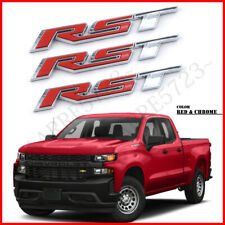 3× For 2019-2021 Chevrolet Silverado RST Chrome Red Tailgate Emblem Badge OEM GM