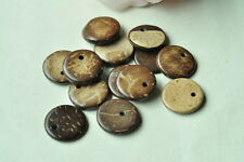 50pcs Round Coconut Shell Bead Brown Wooden Sid Hole Wood Handmade Craft Neclace